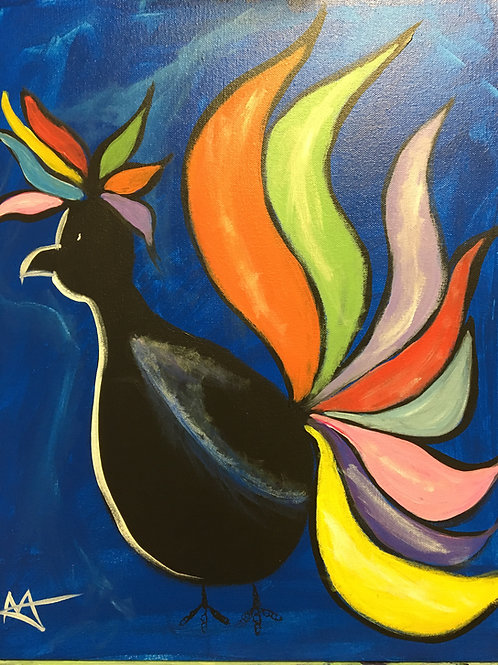 """Paint Party """"To-Go"""" - COLORED TAIL ROOSTER"""