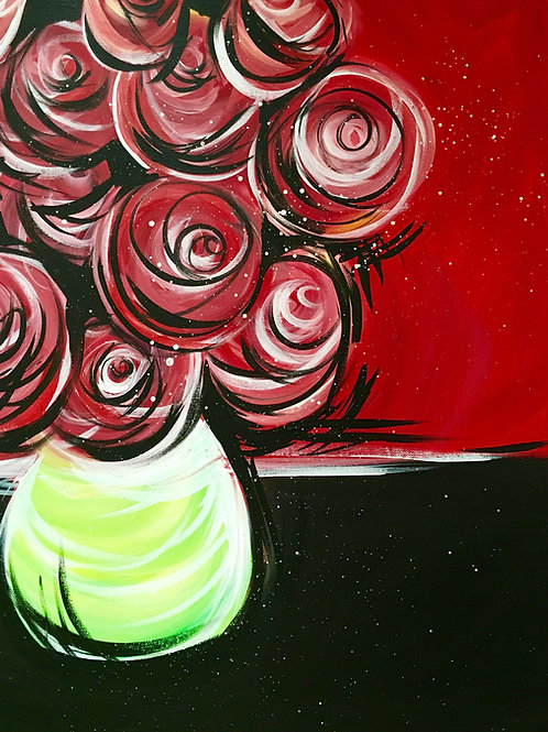 """Paint Party """"To-Go"""" - RED FLOWERS"""
