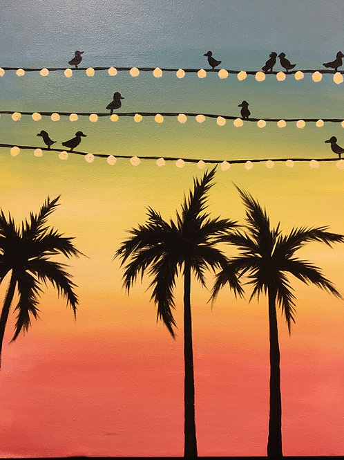 "Paint Party ""To-Go"" - BIRDS AND TROPICAL TREES"