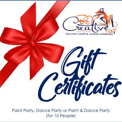 "Gift Certificate - Paint Party ""To-Go"" Kit"