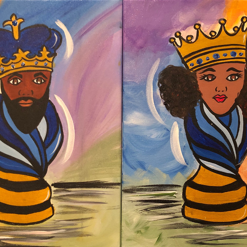 Virtual Paint Party with BE! Creative - CHESS KING / QUEEN