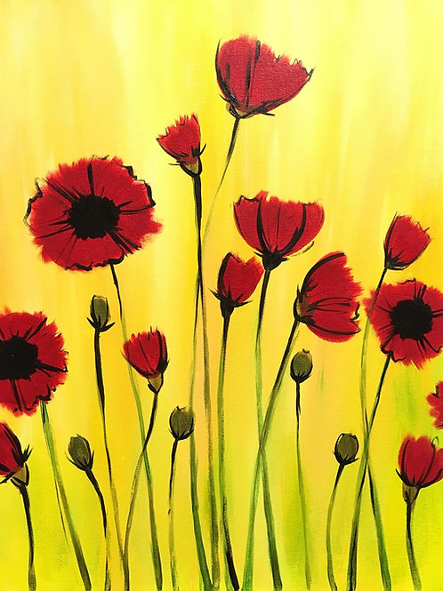 """Paint Party """"To-Go"""" - FLOWERS IN RED"""