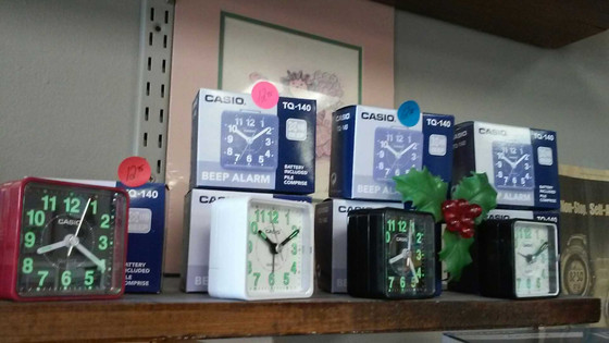 Alarm clocks that are a convenient size and come in different colors the TQ-140 will operate one yea