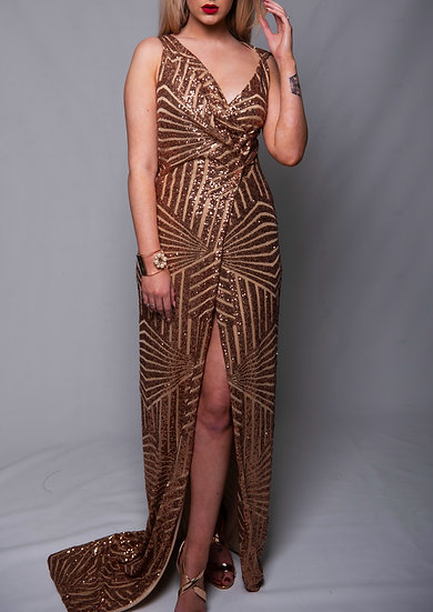 Adaptable Copper Sequin Wrap Red Carpet Gown