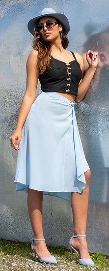 Blue wrap crepe de chine skirt