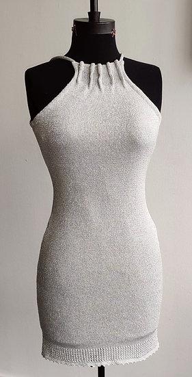 Metallic Silver High Neck Crochet Dress