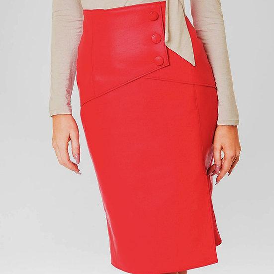 Red PU Wrap Skirt