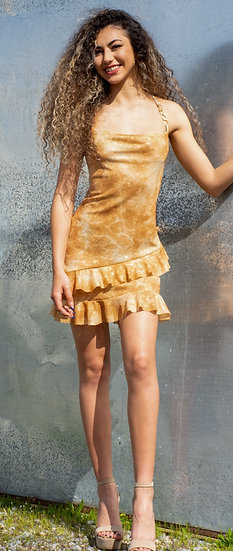 Butterscotch tye dye glitter mini dress