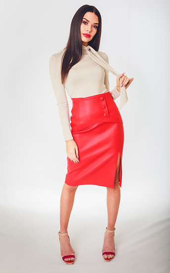 Red PU Wrap Skirt