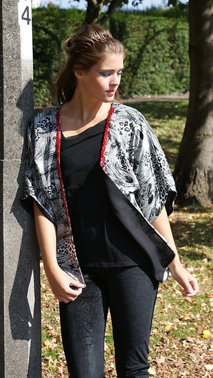 Slim Fit Peacock Print Kimono. Lined with black chiffon-Red Chainmail trim