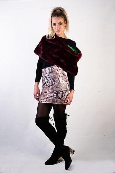 Wet Look Python Mini Skirt