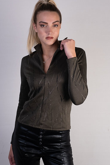 Olive Green Wing Collar Top