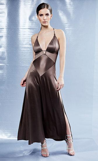 Brown Slinky Cocktail Dress