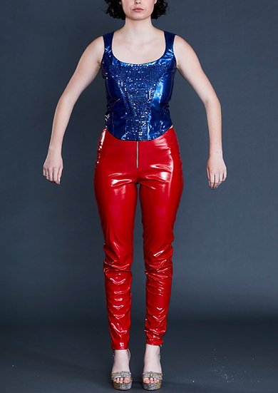 Blue PVC Top by Iconic Spice Girls Designer