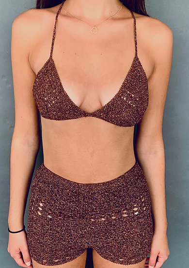 Bronze Crochet Hot Pants