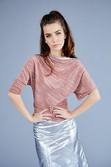 Dusky Pink Crinkle Asymmetric Top