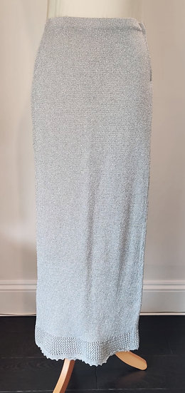 Metallic Silver Crochet Maxi Skirt