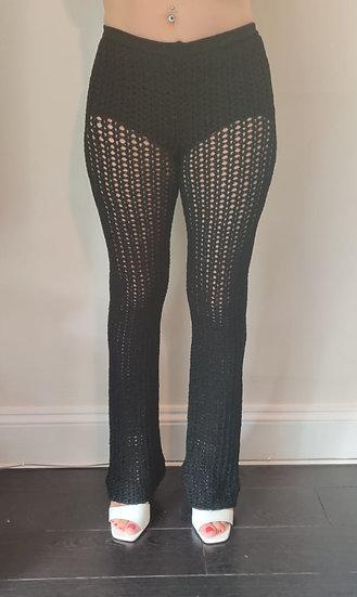 Ebony Black Crochet Trousers
