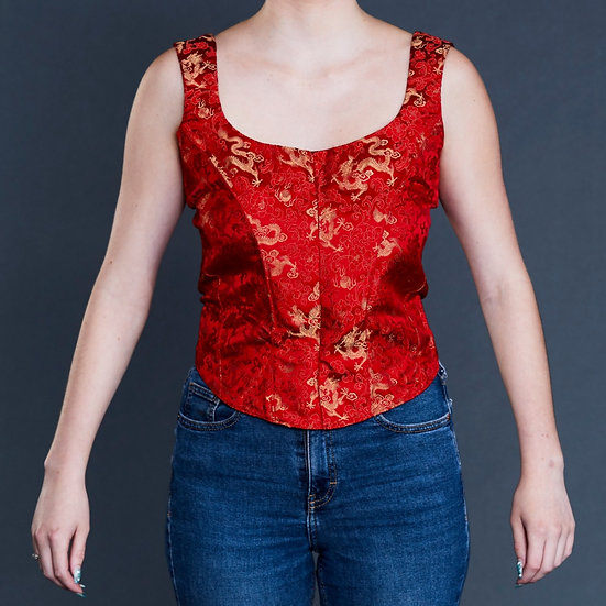 Red jacquard bustier with gold dragon