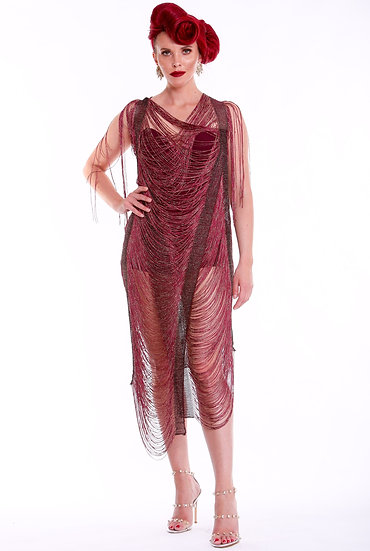 Red Bourdeux Lurex Fringed Dress and Under Garment