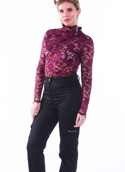 Burgundy High Neck Lace Top