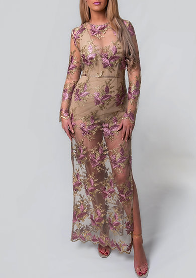 Gold and Pink Lacey Net Long Couture Dress
