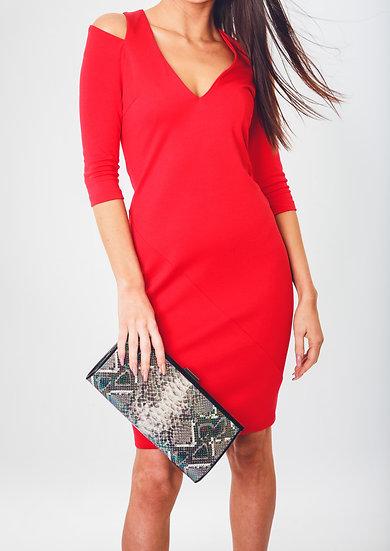 Cut-out Shoulder Knit Dress