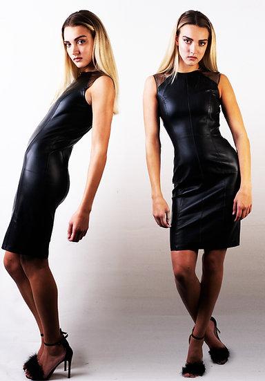 Mock leather pencil dress