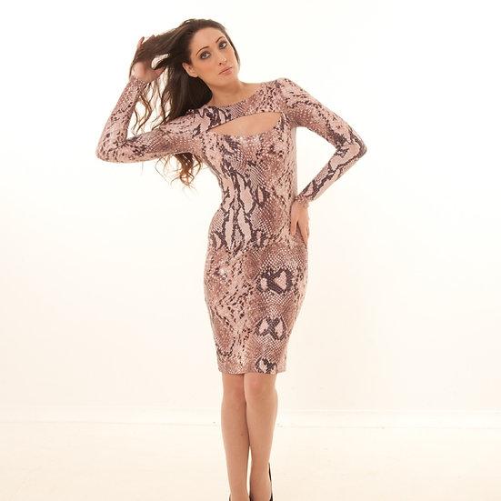 Oyster pink/Choc python print dress
