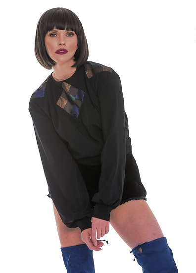 Black Semi Sheer Crepe Blouson Sleeve Top