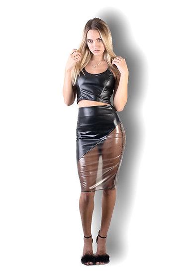Sexy Pencil Skirt Diagonal Cut & Micro Fishnet Vinyl Sheer Panel