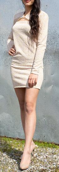 Cream pink animal spot tube dress