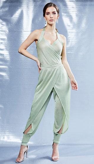 Green Lurex Knit Harem Style Halter Jumpsuit