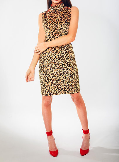 High Neck Fur Leopard Print Dress