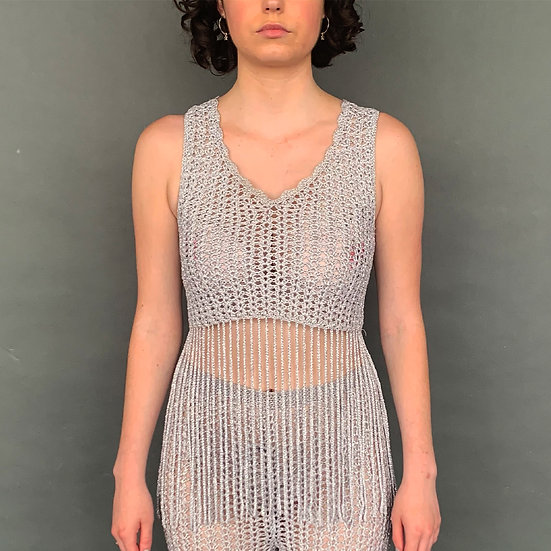 Metallic Silver Fringed Crochet Crop Top