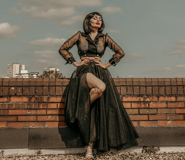 Crystal Organsa circular wrap maxi skirt
