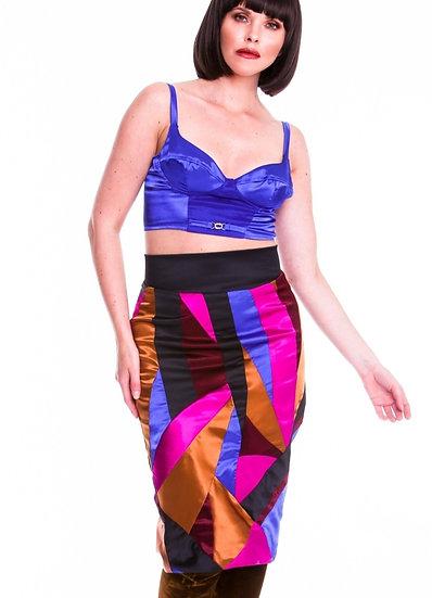 Multi Satin Patchwork Skirt