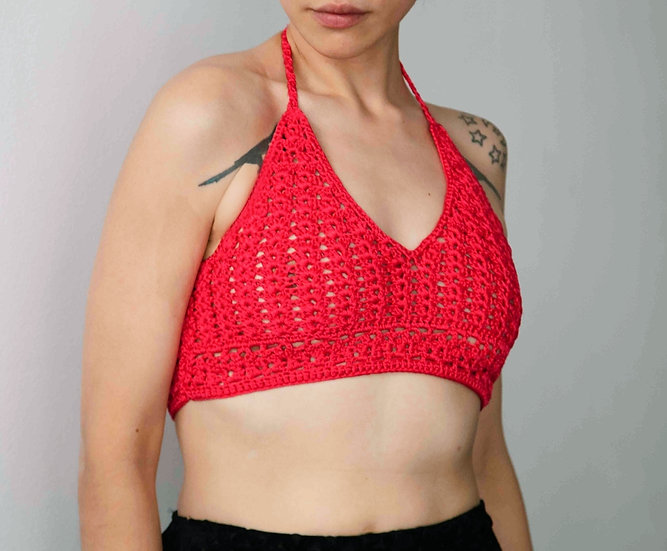 Hot Pink Halter Neck Crochet Bralette