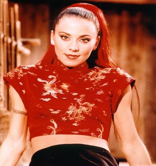 Red/Gold Dragon jacquard mandarin collar crop top by Iconic Spice Girls Designer