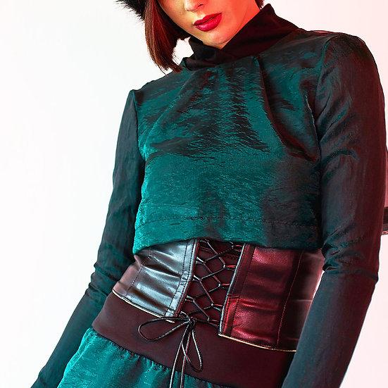 Emerald Green Sheer Organza Crop Top