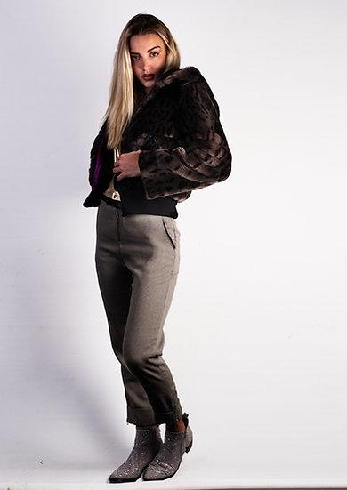 Grey Animal Print Faux Fur Bomber Jacket