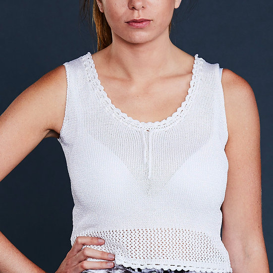 Pearl White Crochet Top