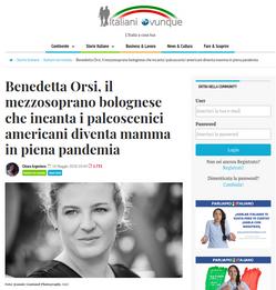 Benedetta Orsi, il mezzosoprano bolognese che incanta i palcoscenici americani diventa mamma in piena pandemia