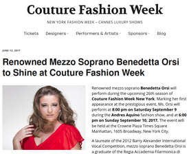 Renowned Mezzo Soprano Benedetta Orsi to Shine at Couture Fashion Week
