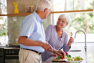 senior cooking couple