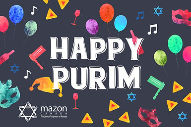 """MAZON's printed Purim cards with colourful Purim decorations that reads """"Happy Purim"""""""