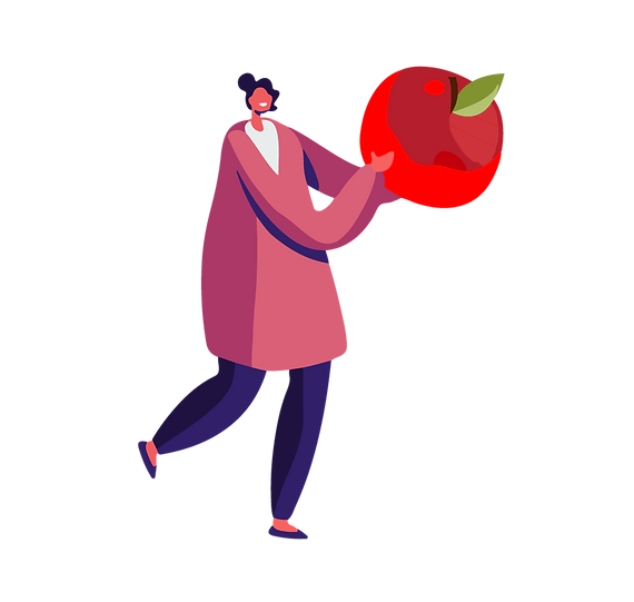 Illustration of a person wearing a pink sweater holding a larger than life size apple