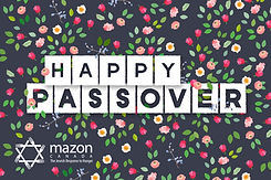 """MAZON's passover card with flowers and leaves and reads """"Happy Passover""""."""