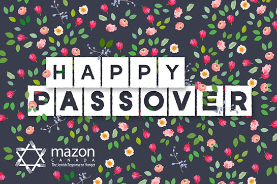 Passover printed card that reads Happy Passover with flowers and leaves in the background
