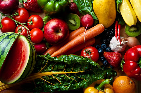 Colourful vegetables and fruit